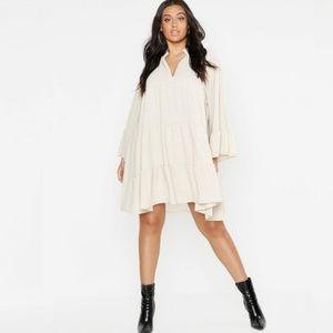 Boohoo Plus Woven Tiered LongSleeve Shirt Dress 22